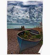 Old Beached Fishing Boats On a Cloudy Day Poster
