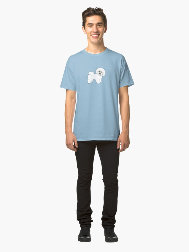 Alternate view of Bichon Frise dog on blue Classic T-Shirt