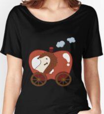 Camiseta ancha Erizo en una aventura de Apple Car