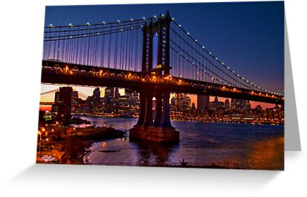 The Brooklyn and Manhattan Bridges at Dusk, USA by Chris Lord