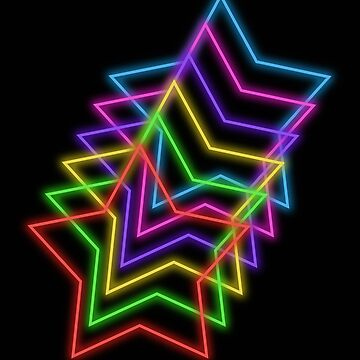 Rainbow Neon Glowing Stars, Small Size Repeating Pattern by nicoletteabides