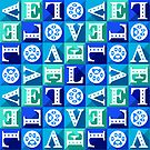 Pitter Patter Pet Love Pattern - Blue by WickedRefined - Nicole Demereckis