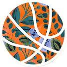 orange floraler Basketball von sluggishsloth