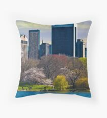 Springtime Arrives In Central Park, New York, USA Throw Pillow