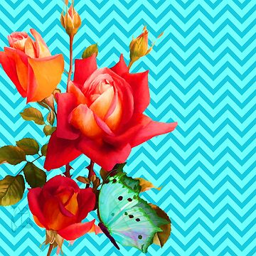 Aqua Turquoise Chevron pattern, butterfly and Coral Roses by Glimmersmith