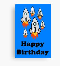 Exodus by Rocket Ships Happy Birthday Greeting Card by Chillee Wilson Canvas Print