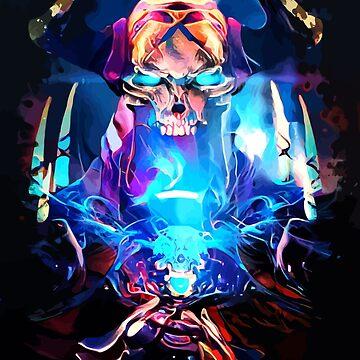 Neon Skull King by hustlart