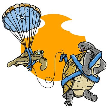Sea turtle and tortoise funny parasailing by piedaydesigns