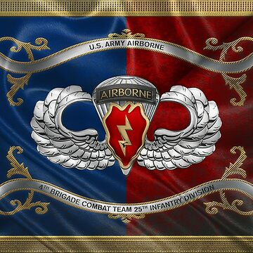 4th Brigade Combat Team 25th Infantry Division Airborne Insignia with Parachutist Badge over Flag by Captain7
