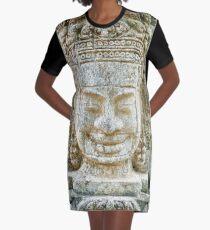 Stone Face, Cambodia Graphic T-Shirt Dress
