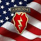 4th Brigade Combat Team 25th Infantry Division Airborne - 4th  I B C T  Insignia over American Flag by Serge Averbukh