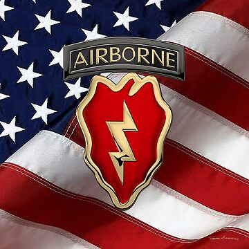 4th Brigade Combat Team 25th Infantry Division Airborne - 4th  I B C T  Insignia over American Flag by Captain7