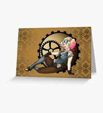 Steampunk Pilot Pinup Girl Greeting Card