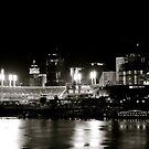 Cincinnati skyline, black and white by HeatherMScholl