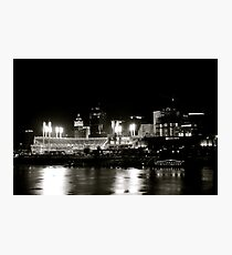 Cincinnati skyline, black and white Photographic Print