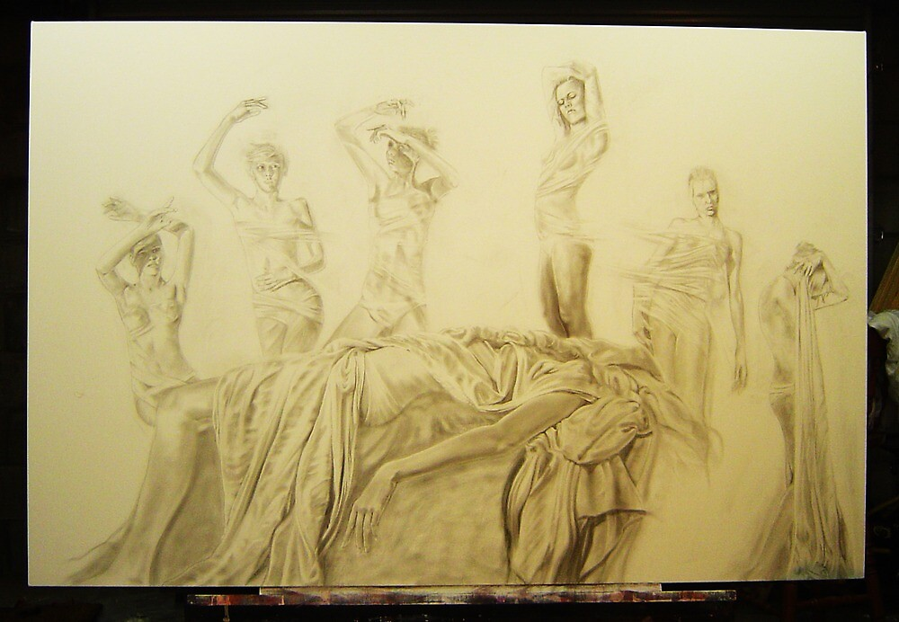 """Graphite and charcoal under drawing for the painting """"Seventh Sister"""" by Warren Haney"""