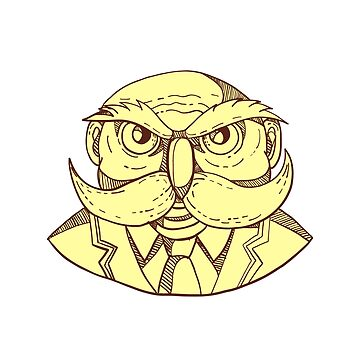 Angry Owl Man Mustache Doodle Color by patrimonio