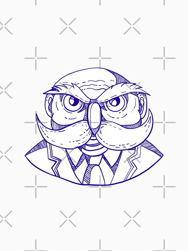 Angry Owl Man Mustache Doodle by patrimonio