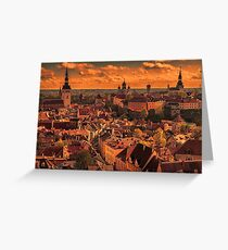 Estonia. Tallinn. View from the top of St. Olaf's Church. Sunset. Greeting Card