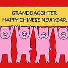 Granddaughter Happy Chinese New Year, Cartoon Piglets. by KateTaylor