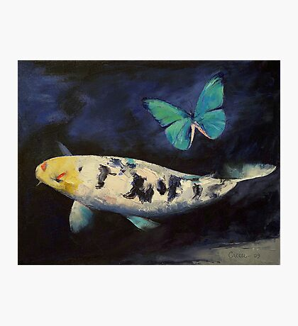 Bekko Koi and Butterfly Photographic Print