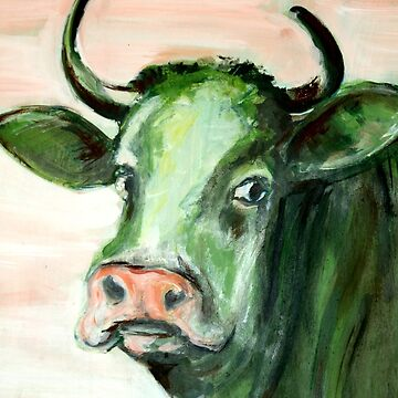 cow green animal pasture bavaria expressionism cow painting acrylic oil artist unique brush pink eyes face horns fur by originalstar