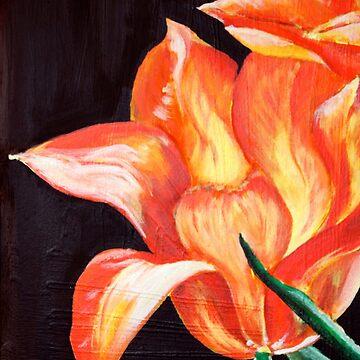 tulip tulip flowers orange fire painting unique unique brush art bloom woman gift birthday by originalstar