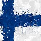 «Bandera de Finlandia Acción Pintura - Grunge Desordenado» de Garyck Arntzen