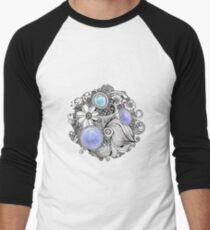 Zentangle flower with blue stones Men's Baseball ¾ T-Shirt