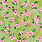 Hibiscus Print with Lime Green Batik by SandAndChi
