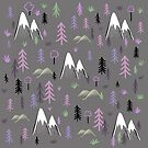 Hiking pattern mountains and trees - pink by Matt Corrigan