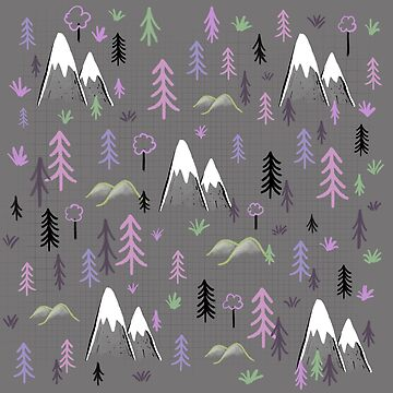 Hiking pattern mountains and trees - pink by Extreme-Fantasy
