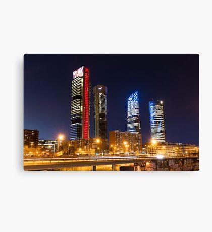 Madrid - Cuatro Torres Night Canvas Print