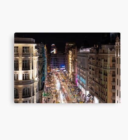 Madrid - Gran via Night Canvas Print