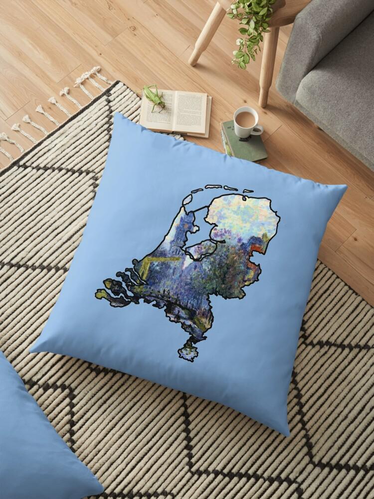 'Monet Amsterdam - Netherlands (Famous Paintings - De Groenburgwal en de  Zuiderkerk)' Floor Pillow by From-Now-On