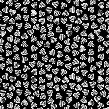 White on Black Striped Heart Doodles by TimorousEclectc