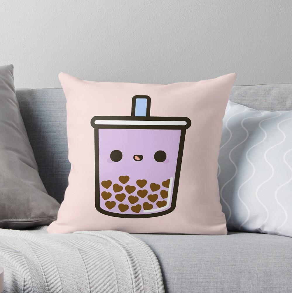 Cute Love Heart Bubble Tea Throw Pillow