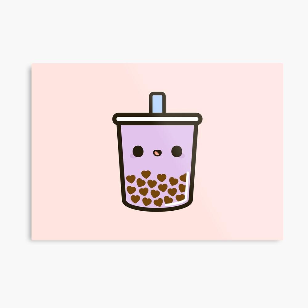 Cute Love Heart Bubble Tea Metal Print