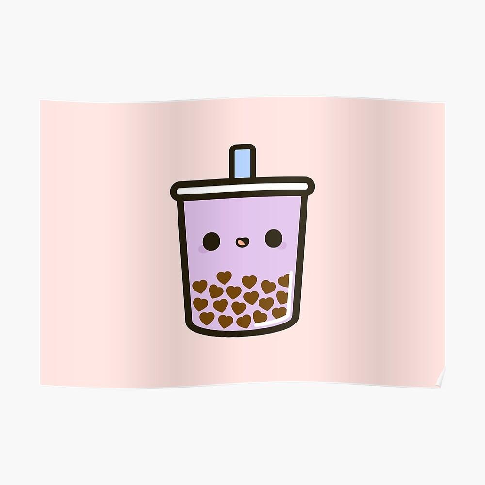 Cute Love Heart Bubble Tea Poster