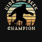 Bigfoot Sasquatch Hide And Seek Champion Retro Sunset Vintage  by CheerfulDesigns