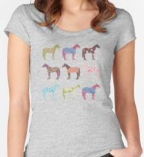 Colorful Horse Pattern Women's Fitted Scoop T-Shirt
