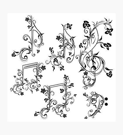 Blumenmusiknoten Fotodruck