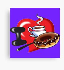 I Love Coffee and Donuts Canvas Print