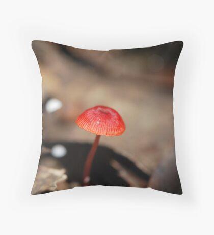 "Mycena viscidocruenta aka ""Ruby Bonnet"" Throw Pillow"