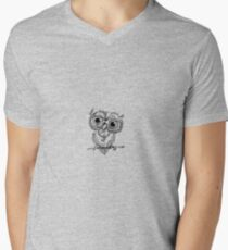 Gangster Owl Illustration Mens V-Neck T-Shirt