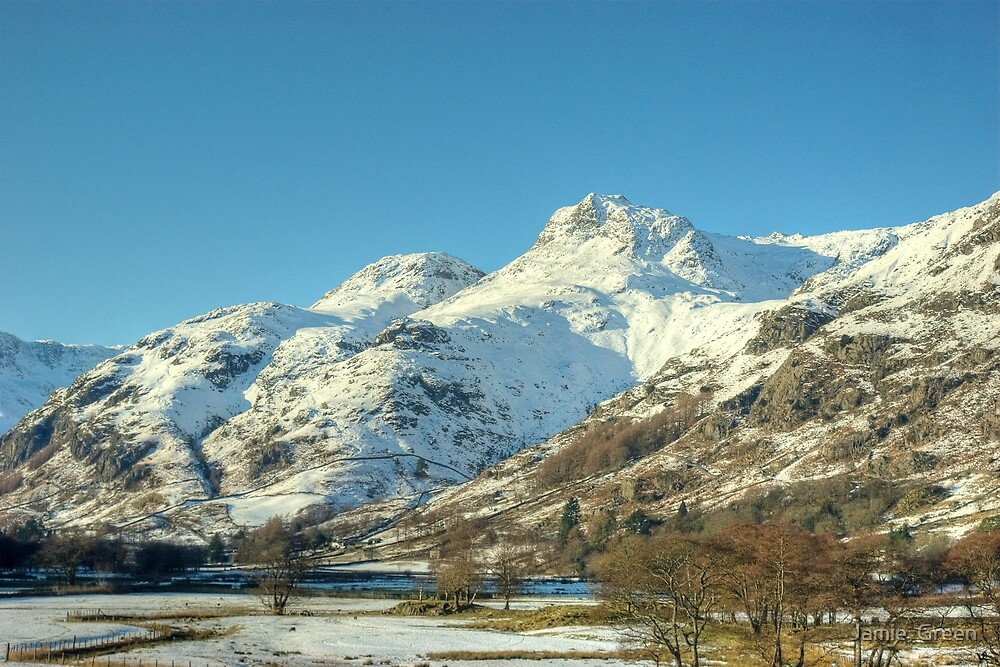 The Langdale Pikes in January by Jamie  Green