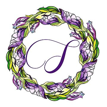 iris floral Letter S - uppercase Alphabet, Monogram, Initial  by ArtOlB