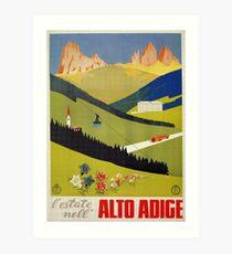 Lámina artística Anuncio de viaje italiano Vintage Alto Adige South Tirol