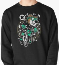 Bear Motocross Rider 90s cartoon womens Pullover Sweatshirt