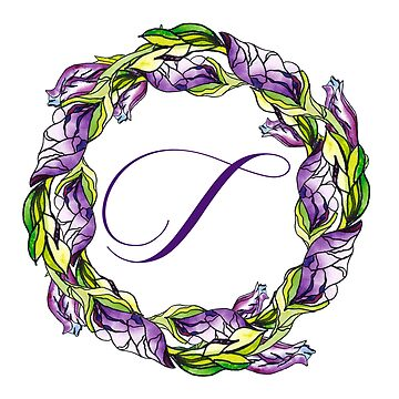 iris floral Letter T - uppercase Alphabet, Monogram, Initial  by ArtOlB